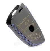 Чехол для смарт ключа БМВ X series, кожаный, черный