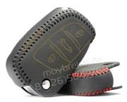 Чехол на выкидной ключ Ситроен кожаный 3 кнопки, черный