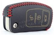 Чехол на выкидной ключ Форд Focus кожаный 3 кнопки, черный