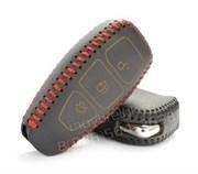 Чехол для смарт ключа Форд Kuga кожаный 3 кнопки, черный