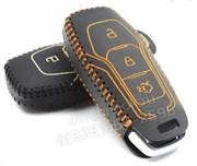 Чехол для смарт ключа Форд Mondeo кожаный 3 кнопки, черный