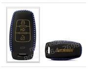 Чехол для смарт ключа Грэйт Волл кожаный 3 кнопки, черный