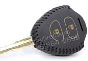 Чехол на ключ-жало Тойота Rav4 кожаный (2 кнопки, жало), черный