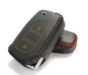 Чехол на выкидной ключ Тойота Rav4 кожаный 3 кнопки, черный