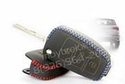 Чехол на выкидной ключ Ауди кожаный (выкидной - A1, A3, A6, Q3, Q5, Q7), черный