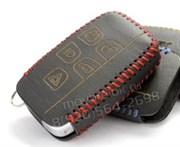 Чехол для смарт ключа Ягуар кожаный 5 кнопок, черный