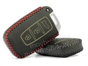 Чехол для смарт ключа Киа Sportage, кожаный 3 кнопки, черный