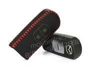 Чехол для смарт ключа Мазда кожаный 2 кнопки, красный