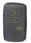 Чехол для смарт ключа Тойота Prado кожаный 3 кнопки, Прадо, черный