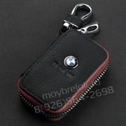 Ключница БМВ черная с красной строчкой на застежке на молнии