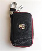 Ключница Кадиллак черная с красной строчкой на застежке на молнии