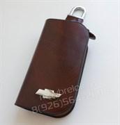 Ключница Шевроле коричневая на молнии