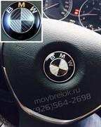 Эмблема БМВ карбон в руль (45 мм)