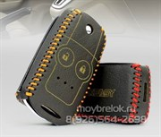 Чехол на выкидной ключ Хонда кожаный 2 кнопки, черный