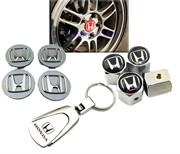 Подарочный набор Хонда:  колпачки на диски, колпачки на ниппели, брелок