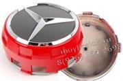 Колпачки в диск Мерседес AMG (75 мм) бочки красные/ (кат.A00040009003594)
