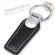 Брелок Ауди для ключей черный логотип кожаный (q-type), выпуклая эмблема