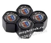 Колпачки на ниппель БМВ Alpina (шестигр. черн) комплект 4шт