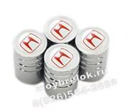 Колпачки на ниппель Хонда (бел.фон, цилиндр) комплект 4шт