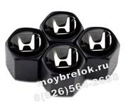 Колпачки на ниппель Хонда (черн.фон, шестигр.-черн) комплект 4шт