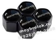 Колпачки на ниппель Мерседес AMG (шестигр. черн) комплект 4шт