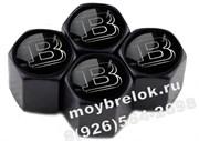 Колпачки на ниппель Мерседес Brabus (шестигр. черн) комплект 4шт
