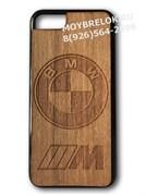 Деревянный чехол БМВ М на телефон