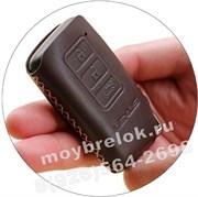 Чехол для смарт ключа Лексус (3 кноп) мягкая натуральная кожа, коричневый