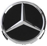 Колпачки в диск Мерседес (75 мм) хром звезда на черном фоне (глянец) / (кат.B66470200)