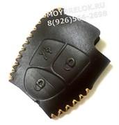 Чехол для смарт ключа Мерседес мягкая натуральная кожа, коричневый