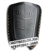 Чехол для смарт ключа Кадиллак (5 кноп) мягкая натуральная кожа, черный