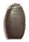 Чехол для смарт ключа Инфинити (3 кноп) мягкая натуральная кожа, коричневый