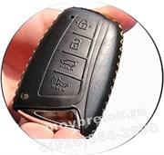 Чехол для смарт ключа Хендэ genesis (4 кноп) мягкая натуральная кожа, черный