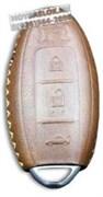 Чехол для смарт ключа Ниссан GtR мягкая натуральная кожа, коричневый