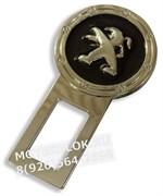 Заглушки Пежо в ремень безопасности, 2шт (3D-тип, металл), пара, черные