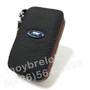 Ключница Форд черная с красной строчкой на застежке на молнии