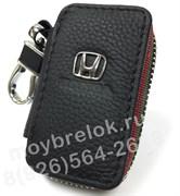 Ключница Хонда черная с красной строчкой на застежке на молнии