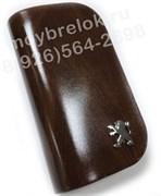 Ключница Пежо коричневая на молнии