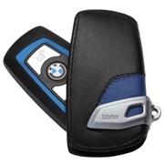 Кожаный выкидной чехол БМВ кожа наппа / (кат.82292219915), синий