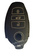 Чехол для смарт ключа Фольксваген Touareg кожаный 3 кнопки, черный