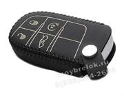 Чехол для смарт ключа Джип кожаный 4 кнопки, черный