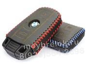 Чехол для смарт ключа БМВ кожаный дорестайл (2 ушка), красный