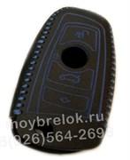 Чехол для смарт ключа БМВ кожаный рестайл (1 ушко), синий