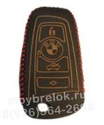 Чехол для смарт ключа БМВ кожаный рестайл (1 ушко), красный