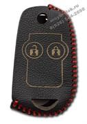 Чехол на выкидной ключ Хонда кожаный 2 кнопки, красный
