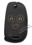 Чехол на выкидной ключ Хонда кожаный 3 кнопки, черный
