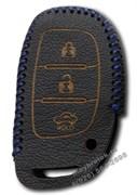 Чехол для смарт ключа Хендэ кожаный 3 кнопки, ix25 серия, синий