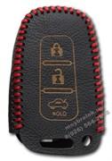 Чехол для смарт ключа Хендэ кожаный 3 кнопки, ix35 серия, красный