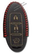 Чехол для смарт ключа Ниссан кожаный 3 кнопки, красный