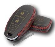 Чехол для смарт ключа Сузуки кожаный 2 кнопки, красный